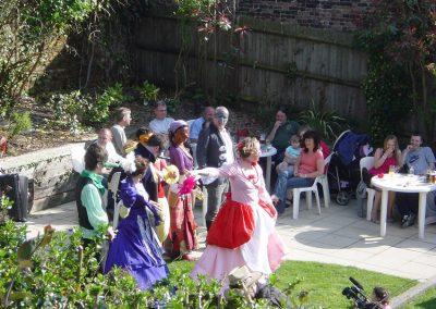 Actors performing in the Pub Garden of The Old Crown Weybridge
